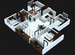 29-3-bedoom-with-balcony-house-plans