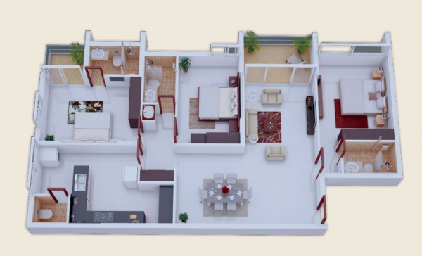 23_decorate-three-bedrooms-600x364